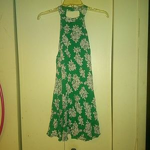 EUC mink pink green and white floral sundress sm